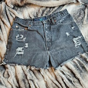 Guess black distressed vintage  highrise shorts
